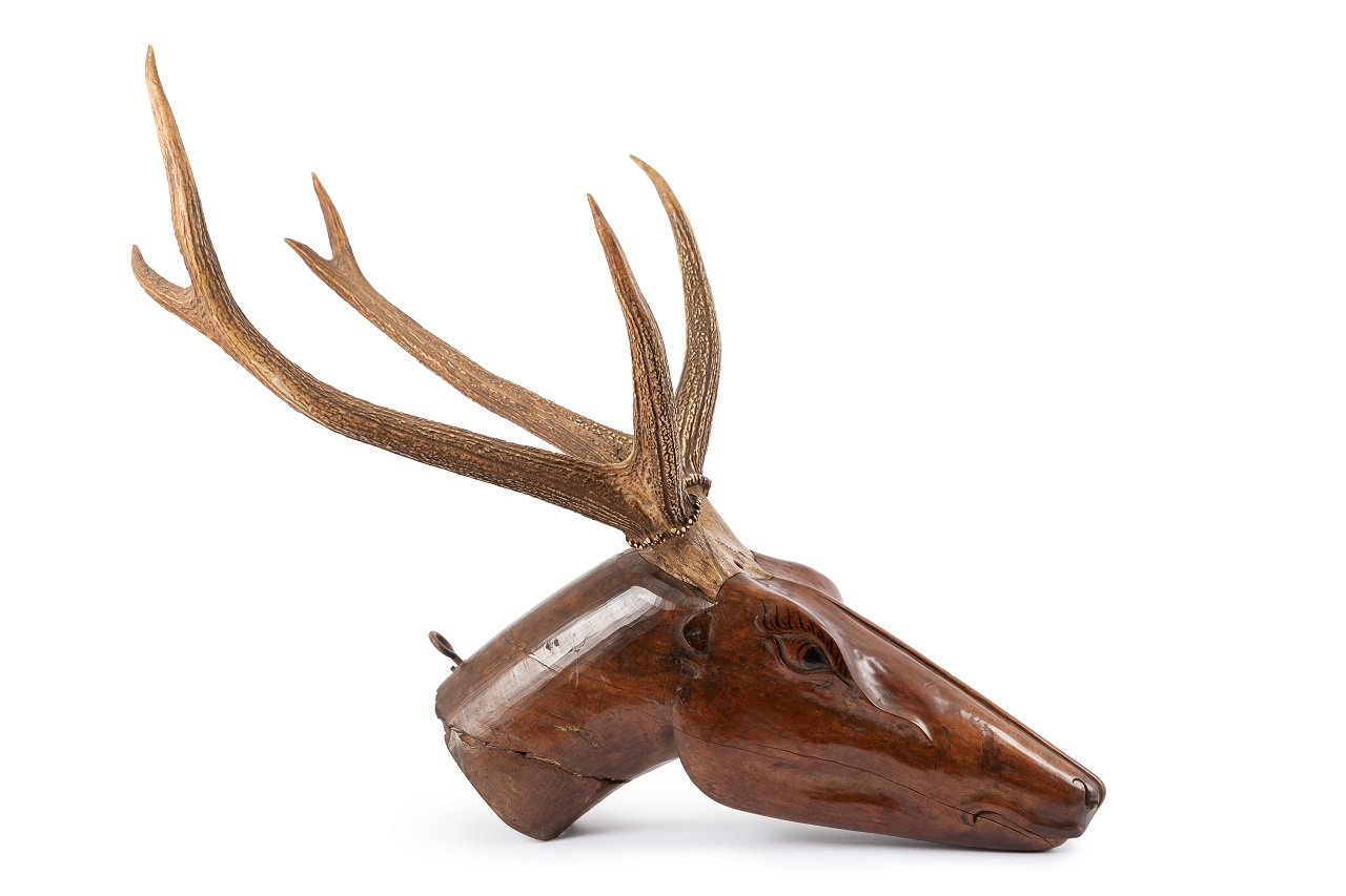 4. resized. Carved Head of a Stag. Persian early 19th century